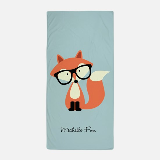 Hipster Red Fox Beach Towel