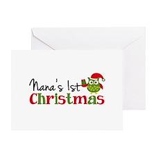 Nanas 1st Christmas Owl Greeting Cards