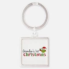 Grandpa's 1st Christmas Owl Square Keychain