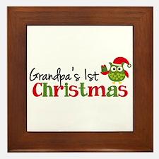 Grandpa's 1st Christmas Owl Framed Tile