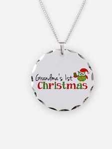 Grandma's 1st Christmas Owl Necklace Circle Charm