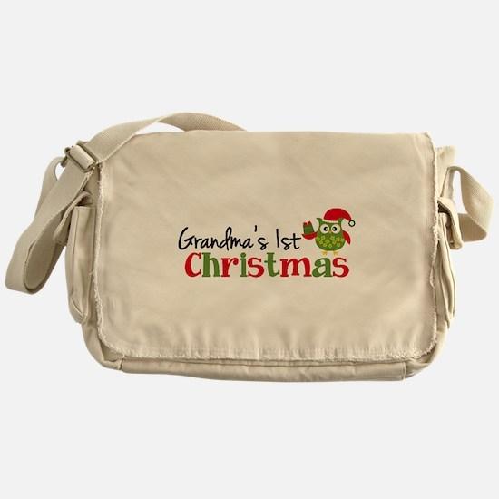 Grandma's 1st Christmas Owl Messenger Bag