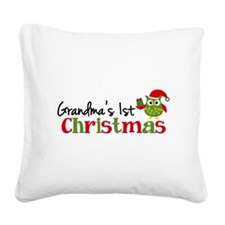 Grandma's 1st Christmas Owl Square Canvas Pillow