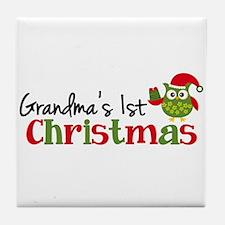 Grandma's 1st Christmas Owl Tile Coaster