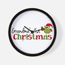 Grandma's 1st Christmas Owl Wall Clock