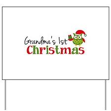Grandma's 1st Christmas Owl Yard Sign