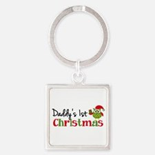 Daddy's 1st Christmas Owl Square Keychain