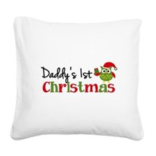 Daddy's 1st Christmas Owl Square Canvas Pillow
