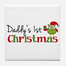 Daddy's 1st Christmas Owl Tile Coaster