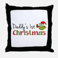 Daddy's 1st Christmas Owl Throw Pillow