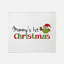 Mommy's 1st Christmas Owl Throw Blanket