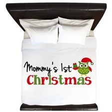 Mommy's 1st Christmas Owl King Duvet