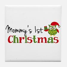 Mommy's 1st Christmas Owl Tile Coaster