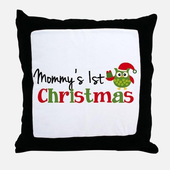 Mommy's 1st Christmas Owl Throw Pillow