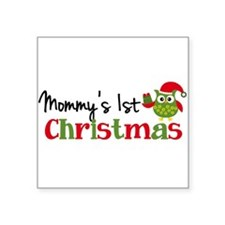 """Mommy's 1st Christmas Owl Square Sticker 3"""" x 3"""""""