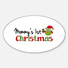 Mommy's 1st Christmas Owl Sticker (Oval)