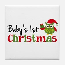 Baby's 1st Christmas Owl Tile Coaster