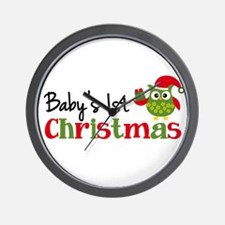Baby's 1st Christmas Owl Wall Clock