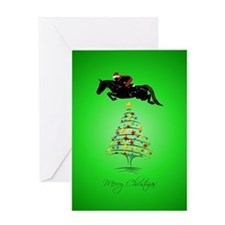 Horse Jumping Christmas Greeting Card
