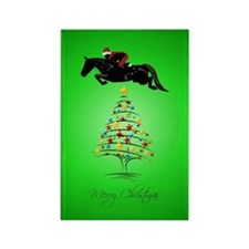 Horse Jumping Christmas Rectangle Magnet
