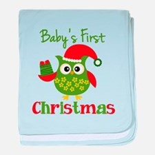 Baby's First Christmas Owl baby blanket