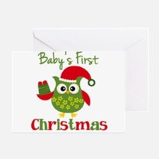 Baby's First Christmas Owl Greeting Card