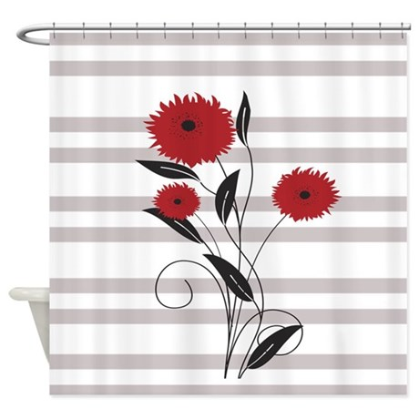 modern red black and gray floral shower curtain by auslandgifts. Black Bedroom Furniture Sets. Home Design Ideas