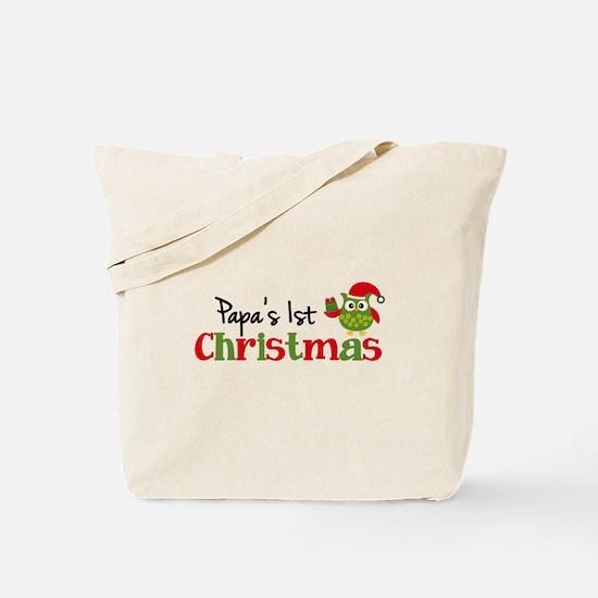 Papa's 1st Christmas Owl Tote Bag