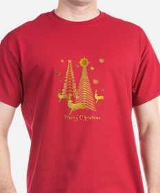 Gold Christmas Trees and Reindeer T-Shirt