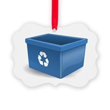 Blue Recycling Bin Ornament