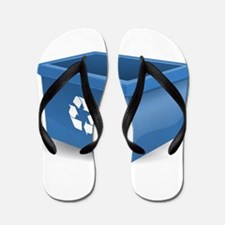 Blue Recycling Bin Flip Flops
