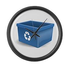 Blue Recycling Bin Large Wall Clock