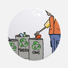 Recycling Trash Cans Ornament (Round)