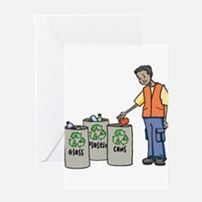 Recycling Trash Cans Greeting Cards
