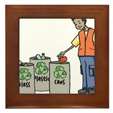Recycling Trash Cans Framed Tile