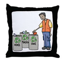 Recycling Trash Cans Throw Pillow