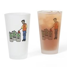 Recycling Trash Cans Drinking Glass