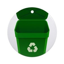 Green Recycling Trash Can Ornament (Round)
