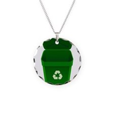 Green Recycling Trash Can Necklace