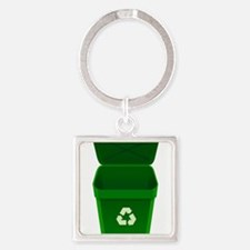 Green Recycling Trash Can Keychains
