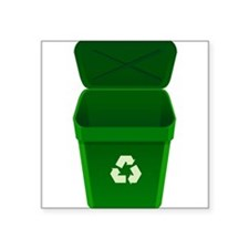 Green Recycling Trash Can Sticker
