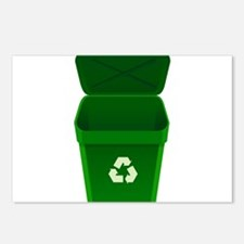 Green Recycling Trash Can Postcards (Package of 8)