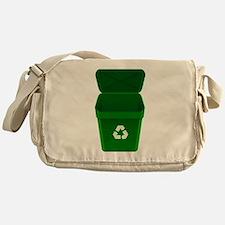 Green Recycling Trash Can Messenger Bag