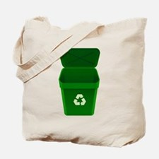 Green Recycling Trash Can Tote Bag