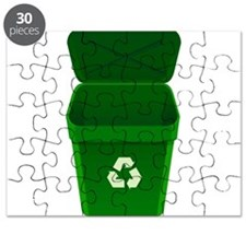 Green Recycling Trash Can Puzzle