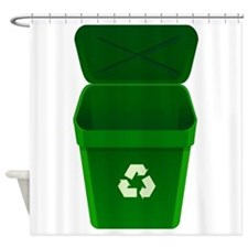 Green Recycling Trash Can Shower Curtain