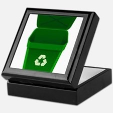Green Recycling Trash Can Keepsake Box
