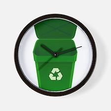 Green Recycling Trash Can Wall Clock