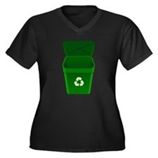 Green Recycling Trash Can Plus Size T-Shirt