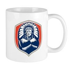 Native American Chief Warrior Headdress Retro Mugs